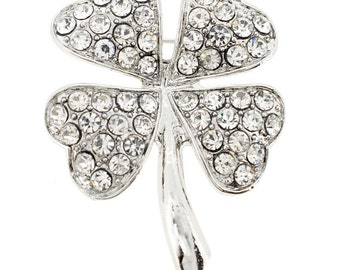Silver 4 Leaf Clover Flower Pin Brooch 1000041