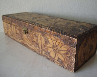 Vintage Christmas Poinsettia Hand Etched Wooden Box Shabby Chic