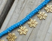 Snowflake Bracelet With Blue Hemp - Size 7 inch - Handmade Macrame Jewelry for Women - Winter Accessories
