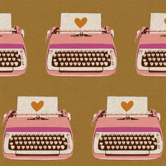Melody Miller Typewriters Fabric in Gold / Pink - Out of Print - 1 Yard