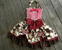 Girls-Toddler Cowgirl Pageant Poofy Skirt and Halter Top Set -Over the Top- Made to Order in sizes 12 month through 8