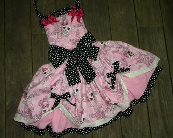 Toddler-Girls Punk Rock Pirate Pageant Costume- Dress, Pink and Glitter Skulls -Over the Top- Poofy Skirt in sizes 12 month through 8