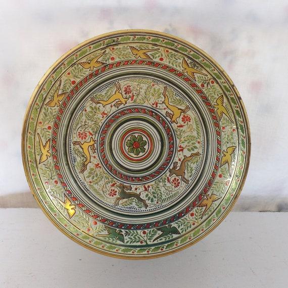 Antique Christmas tin reindeer tin doves tin and holly tin round tin embossed tin made in England tin