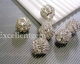 4 Silver plated High quality Czech crystal rhinestones brass Hollow beads
