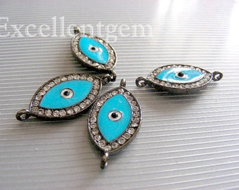 Brecelet connector, Evil eye 5 Gun metal with rhinestone brass Evil eye in blue color 2 hold Bacelate Connector,Pendant
