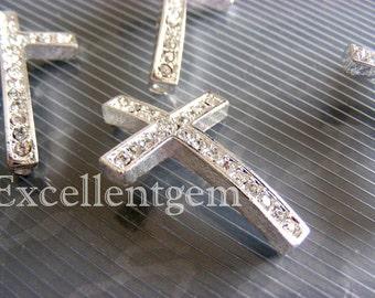 10pcs, High quality Platinum tone sideways Cross Bracelet Connector