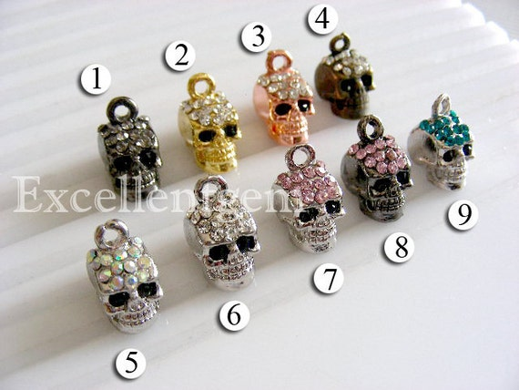 10pcs Wholsale price,Metal with Crystal Rhinestones Skull in 10colors