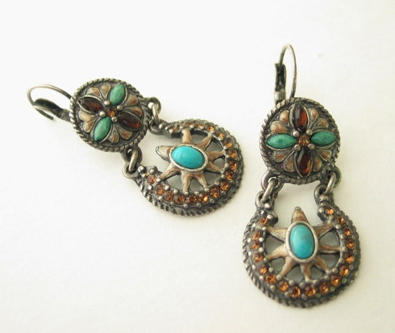 Turquoise Dangle Earrings, Western Silver and Turquoise - Lots of color and detail, Vintage For the individual