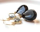 Sapphire blue vintage and gray modern glass gold dangle earrings.  Bridal earrings.  Bridesmaids earrings.  Wedding jewelry.