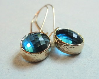 Beautiful sapphire GLASS and gold dangle earrings.  Kidney wires.  Everyday.  Bridal.  Simple and Classic.