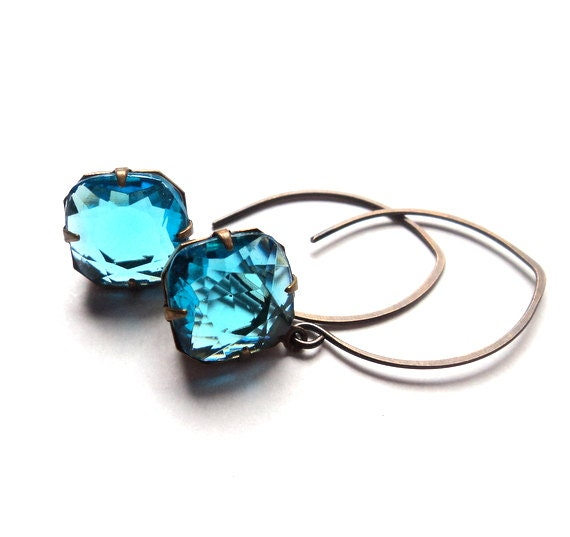 Vintage aqua blue glass dangle earrings.  Antiqued brass.  Old Hollywood Glam.  Everyday.  Bridal.  LAST PAIR