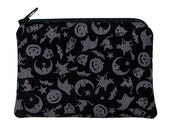Gothic Halloween Silhouettes on Black Small Zipper Pouch Coin Purse
