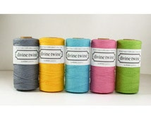 Solid Colors Bakers Twine- choose from Grey, Yellow, Azure Blue, Deep Pink, Lime Green, Red from Divine Twine
