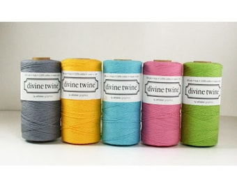 240 yards Solid Colors Bakers Twine- choose from Grey, Yellow, Azure Blue, Deep Pink, Lime Green, Red from Divine Twine