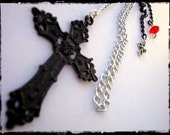 Very Long Goth Punk Earrring With Black Cross and Red Bead by Dryw on Etsy
