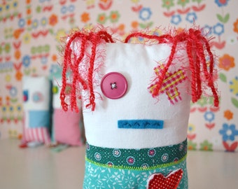 patched eye stuffed monster cushion doll - decorative cushion doll - crazy colors - big heart - soft toy nursery - stuffed monster doll