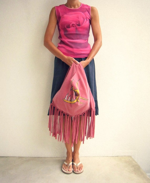 Upcycled T Shirt Tote / Bag / Purse / Red / Boho Fringe / St. Thomas / Shark Fish / Eco Friendly / Cotton / Soft / Fun / by ohzie