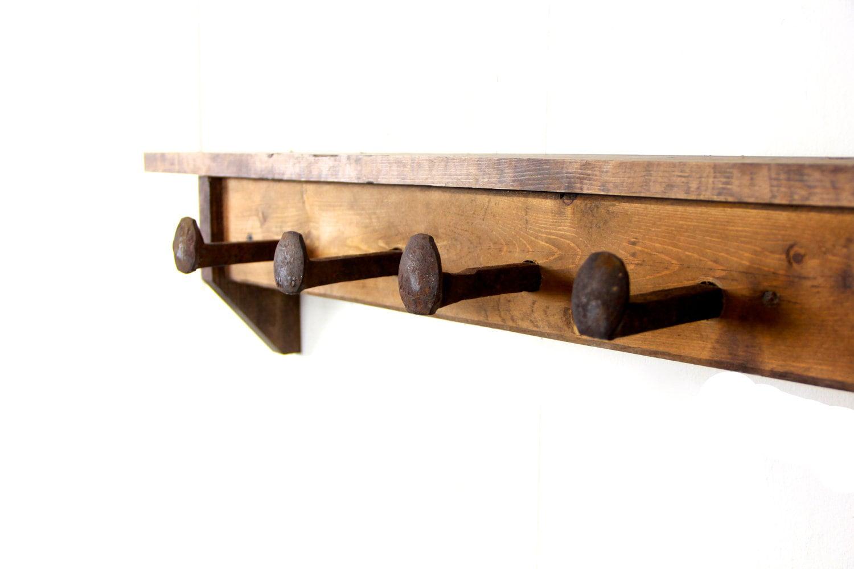 rustic primative railroad spike coat rack wall shelf. Black Bedroom Furniture Sets. Home Design Ideas