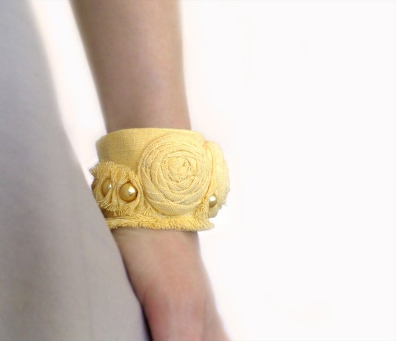 Fabric Cuff Bracelet Bangle Rolled Rosettes Yellow or Black