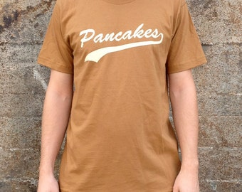 Pancakes Breakfast T-shirt, Men's American Apparel Brown Tan Tee