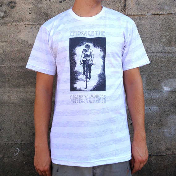 Embrace the Unknown T-shirt, Men's American Apparel White Grey Stripes Tee