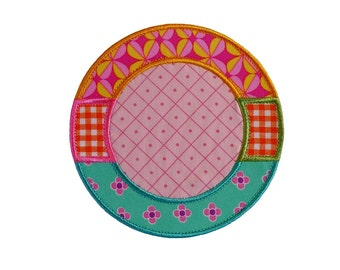 "Monogram Circle Frame Machine Embroidery Applique Design Pattern in 3 sizes 4"", 5"" and 6"""