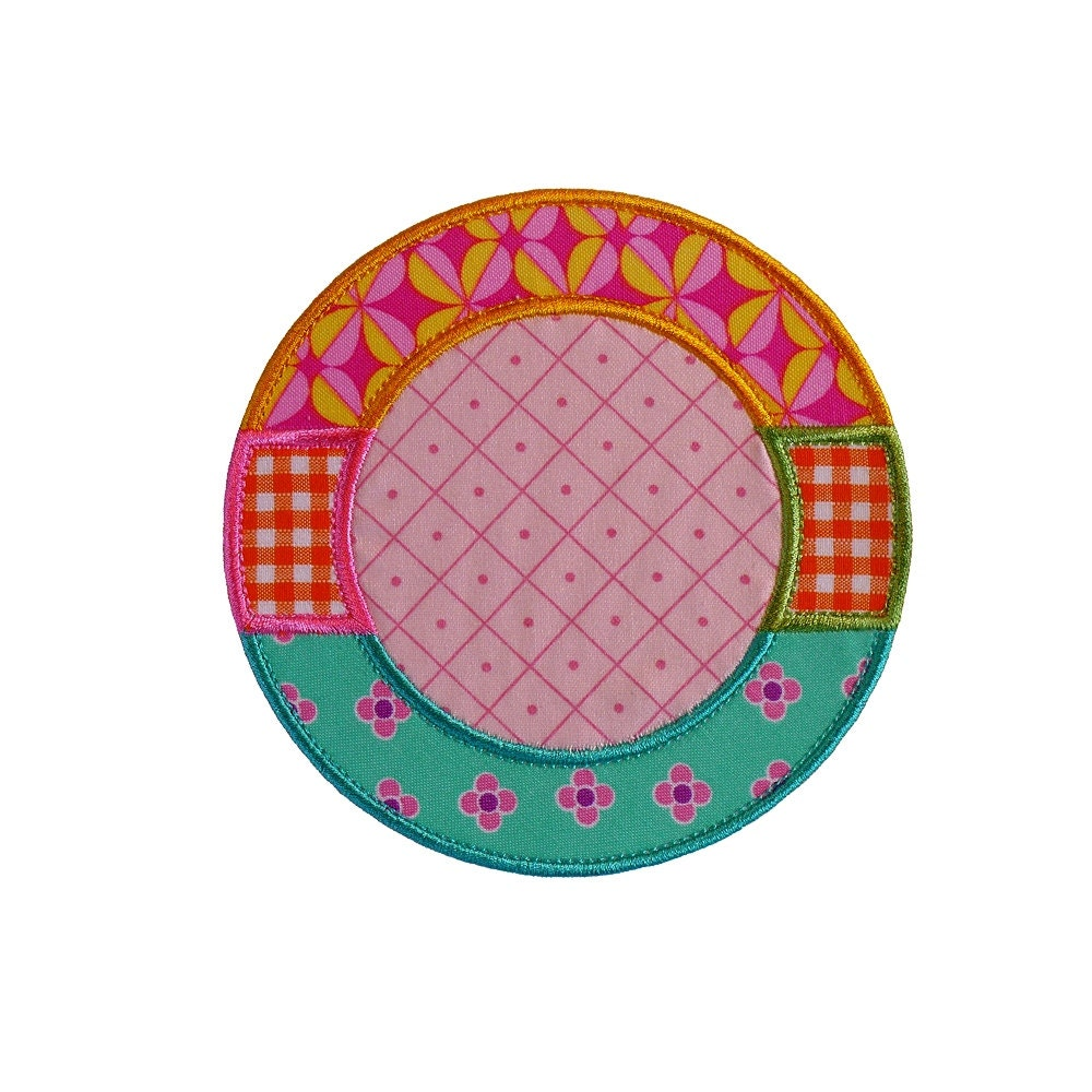 Monogram Circle Frame Machine Embroidery Applique Design