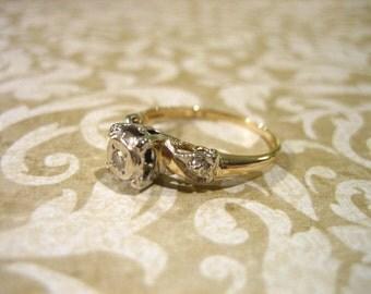 Art Deco 14K Gold Diamond Engagement Wedding Band Ring