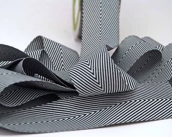 Striped Chevron Twill Ribbon -- 1 1/2 inch -- Black White 1.5 inch