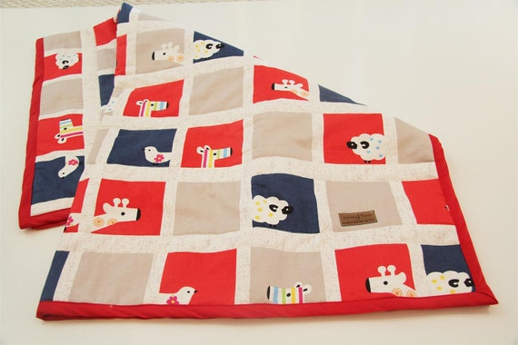 OOAK baby quilt blanket playmat ANIMALS japanese red navy blue tan white organic ready to ship