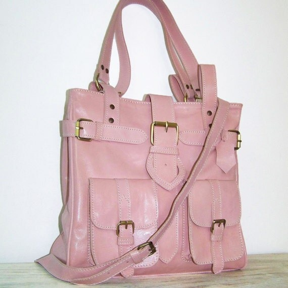 Reserved listing for 2002special - Light Pink Leather Handbag - Purse Shoulder Cross-body Bag Orea small