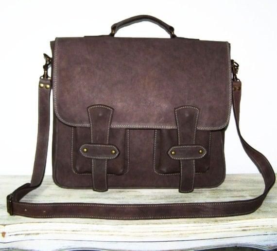 "RusticBrown Leather Messenger / 13"" Laptop Bag / Sion"