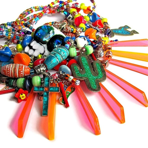 MEXICO huge multi strand colorful fiesta bib necklace statement necklace Mexico jewelry unique jewelry bold colorful necklace