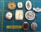 Watch faces, Steampunk, Goth, Gears, Vintage supplies  8 Pieces