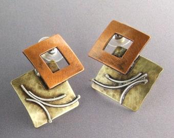Mixed metal, copper, sterling, brass, Metal Squared earrings, Regina Marie Designs