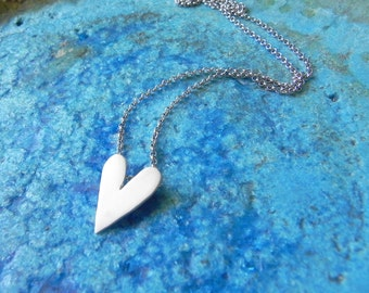 Cute heart sterling silver heart necklace pendant - love Valentine gift