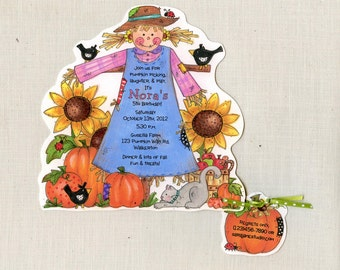 Personalized Girl - Scarecrow - Happy Halloween, Fall or Birthday Party Invitations - Handcut and Personalized - Set of 30