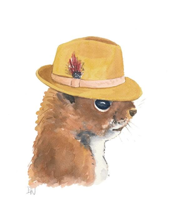 Squirrel Painting Original Watercolor - Fedora, Squirrel Art, Animal Illustration, 8x10