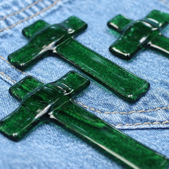 Large Green Fused Glass Pocket Cross - set of 3