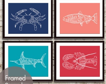 Crab, Salmon, Swordfish and Lobster Butcher Diagram Seafood Series - Set of 4 Art Prints (Featured in Navy, Coral, Oceanic, Barberry Red)