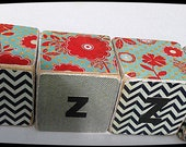 CHEVRON Izzy WOODEN toy Blocks, red, turquoise and black, flower and chevron print wood BLOCKS