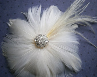 Ivory, wedding, hair, accessories, Bridal, Fascinator, Feather, Hair PIece, Accessory, facinator, flower - IVORY BLOSSOM