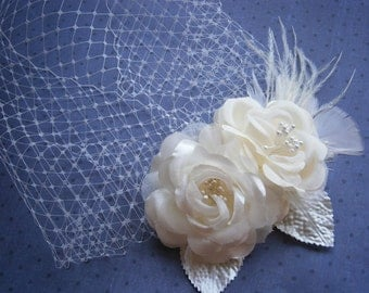 Bridal, hair, veil, Fascinator, Head, Piece, Feather, Wedding, Accessory, Ivory, birdcage, veil, Facinator, accessories - PRETTY IVORY