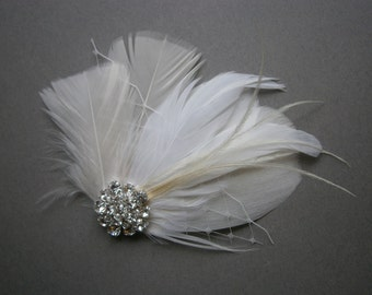 Ivory, feather, white, Weddings, hair, accessory, facinator, Bridal, Fascinators, Bride, veil, ostrich, accessory, comb, jewel, netting