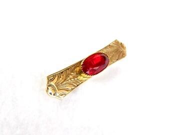 Vintage Etched Gold Red Glass Brooch - Bar Pin - Bezel Set - 1950