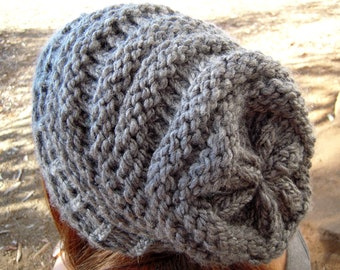 Knit slouchy hat grey women's accessories