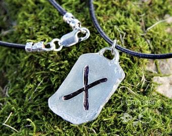 Love Rune Necklace - X Gebo Elder Futhark pewter charm, leather cord - letter G - dog tag shape, for men & women
