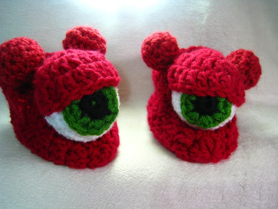Free Crochet Pattern For Monster Slippers : CROCHET PATTERN slipper shoe cyclops monster slipper