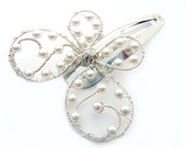 White Pearl Butterfly Hair Pin, Clip or Bouquet Decoration - ButterflyJewelry -Tagt