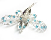 Mystic London Blue Topaz Dragonfly Hair Clip - Dragonfly Jewelry - Tagt